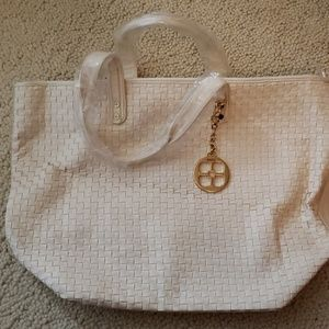 White leather basket weave summer tote
